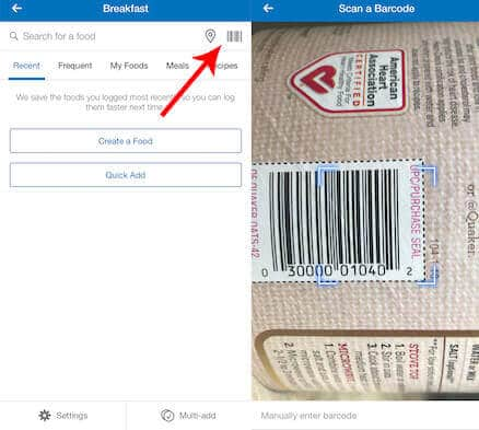How to scan a barcode using MyFitnessPal.
