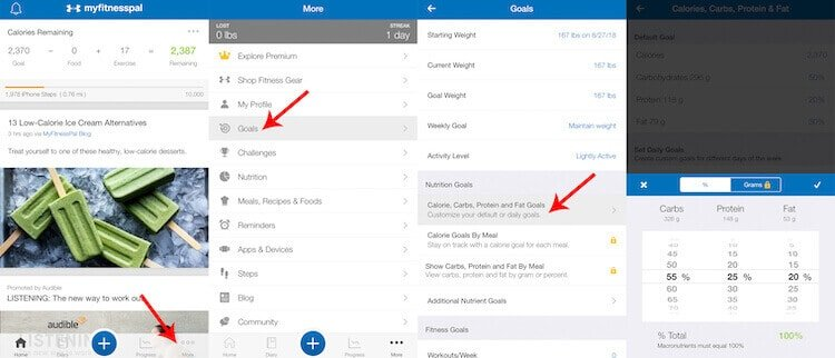Image showing how to set up your macros and calorie goal on MyFitnessPal.