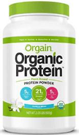 Orgain Organic Plant Based Protein Powder.