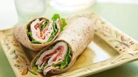 Image of a Turkey & Swiss Wrap With Carrot Salad - 10 No-Cook Meals for Weight Loss