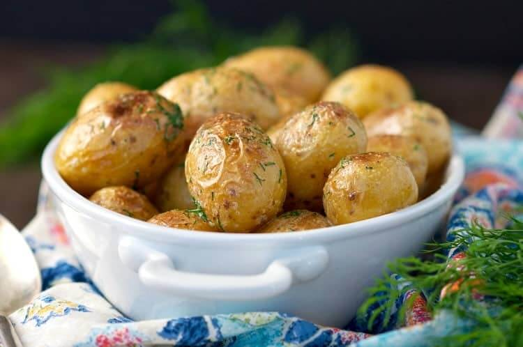 Image of buttered dilly new potatoes