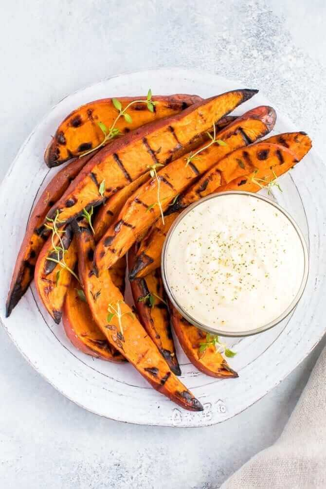 Image of grilled sweet potato wedges