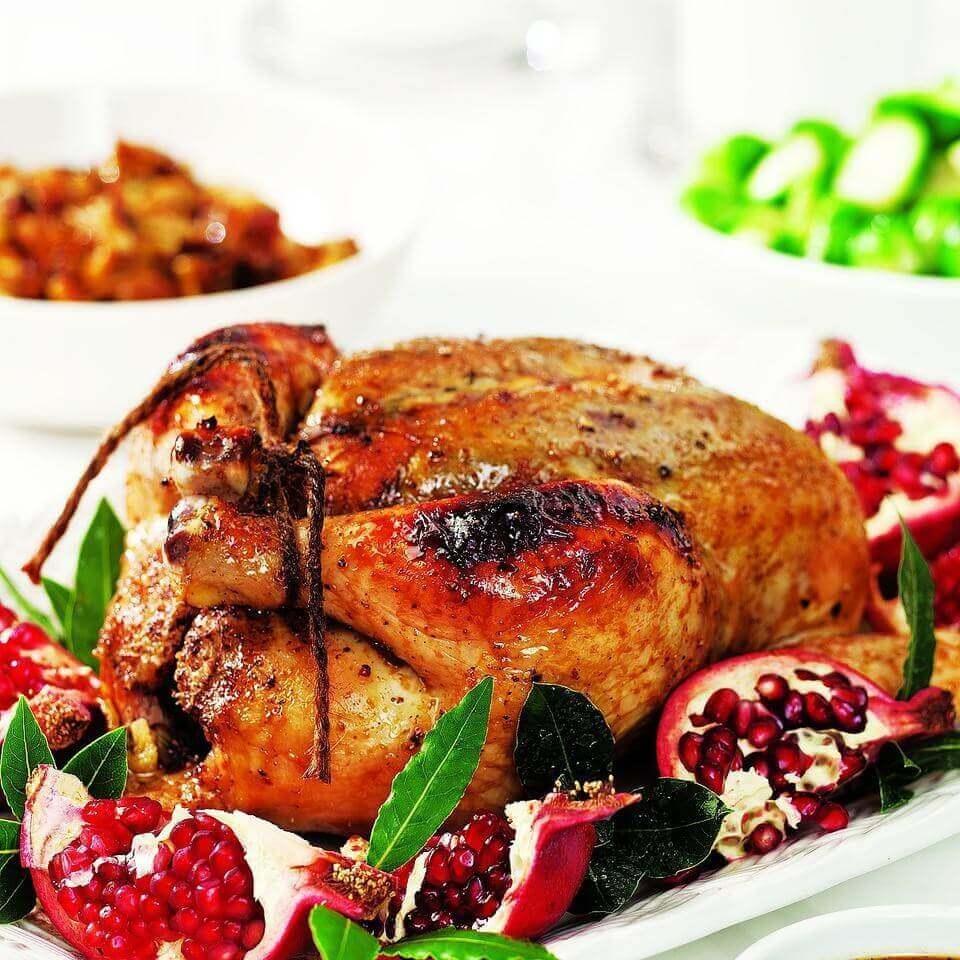 Image of roasted chicken with pomenagrade glaze