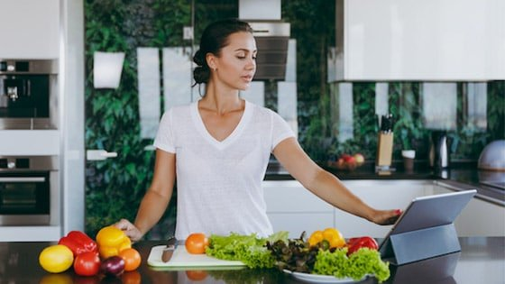 Woman beginning to learn how to cook keto.